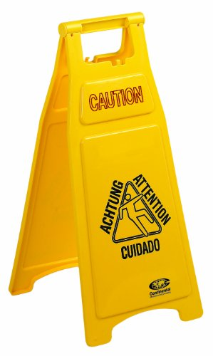 Continental 119, Caution Wet Floor Sign with 2 Sides Multi-lingual Caution Message, 12