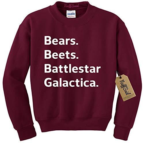 (NuffSaid Beets Bears Battlestar Galactica Crewneck Sweatshirt Sweater Jumper - Unisex Crew (XLarge, Maroon))