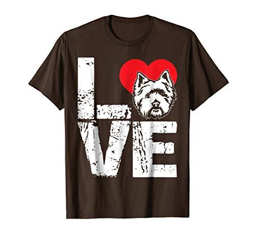 Mens Cairn Terrier Shirt - Love Cairn Terrier Dog T shirt 2XL Brown