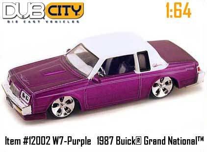 Jada Dub City Metallic Purple 1987 Buick Grand National with White Top & Cartelli Rims 1:64 Scale Die Cast Car