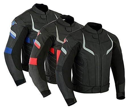 Texpeed - Veste de moto Pro - pour homme - avec protections amovibles - cuir - noir/trois coloris - Noir et bleu - XXL - EU58 LJ-PRO-BK-B-2XL