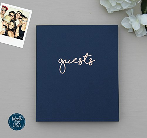 Photo Guest Book Wedding Guest Book, Modern Navy Cardstock Softcover, Flat-Lay Spiral 100 Navy pgs, Embossed With Rose Gold Foil. Birthday Guest Book Poloroid Guest Book. Navy and Blush Decor (Navy)