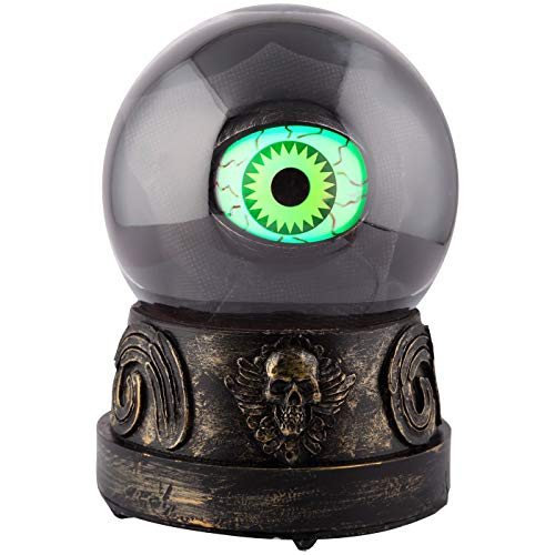 Hyde and Eek 6.5 Inch Animated Crystal Ball with Light Up Animated Eye - Says Spooky Halloween Phrases