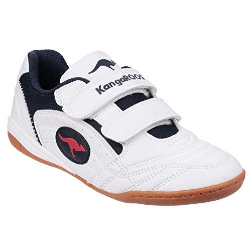 KangaRoos - Zapatillas de futbol sala Modelo Backyard KR10704 para niños Blanco/Marino/Rojo