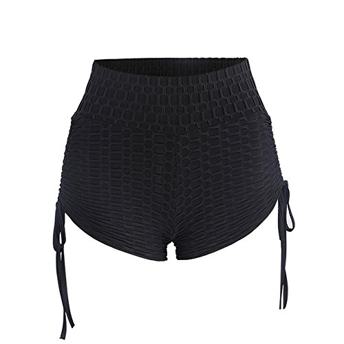 RAISINGTOP Summer Women Yoga Leggings Short Length Sports Gym Workout Skinny Pants Butt Lift Ruched Butt Petite New (Black, (Ruched Pocket Short)