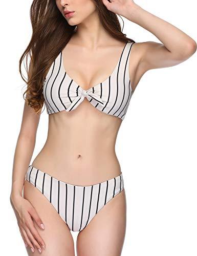 (Verano Playa Women Swimsuit Reversible Bikini with Bow Tie Front Low Waist Bottom Two Pieces Bathing)