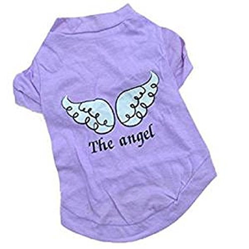 2017 Hot Pet Shirts! AMA(TM) Pet Puppy Small Dog Clothes Chihuahua Angel Printed Cotton Vest T-Shirt Doggy Apparel Costume (S, Purple) (Coral Bells Snow Angel)