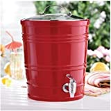 2.5 Gallon Ceramic Beverage Dispenser - Red