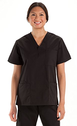 Prestige Medical 302-BLK-M Premium Five Pocket Unisex Scrub Top, Black, Medium