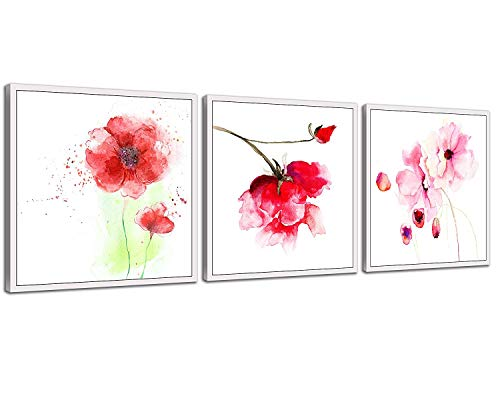 NAN Wind 3 Pcs 12X12inches Canvas Print Pink Watercolor Flower Modern Giclee Stretched and Framed Artwork for Home Decor Poppy Flowers Pictures Prints On Canvas for -
