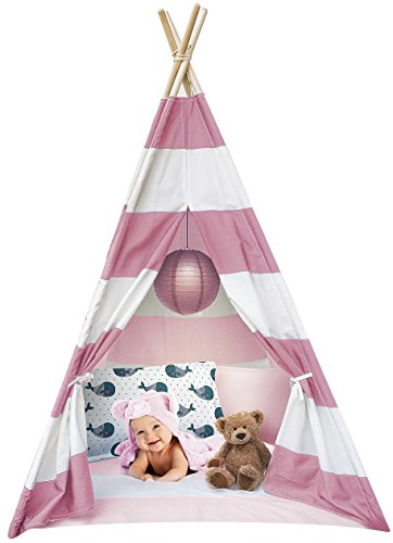 Sorbus Kids Foldable Teepee Play Tent Playhouse Classic Indian Style Play Tent and Carry Bag, Walls with Door, Window and Floor (White and Pink) -