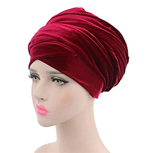 OAKZIP Women Extra Long Tube Indian Turban Fashion Headwear Scarf Easy Wearing Velvet African Head Wrap