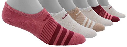 adidas Women's Superlite Super No Show Socks (6-Packs), trace maroon pink/mystery ruby/white/ash pearl, 5-10