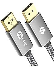 DisplayPort-Kabel 1.2 1.8M, Silkland DP-kabel Ondersteunt 4K@60Hz, 2K@144Hz, 2K@165Hz, 1080P@240Hz, Gevlochten High Speed DisplayPort-Kabel Compatibel met Gamingmonitor, Laptop, PC