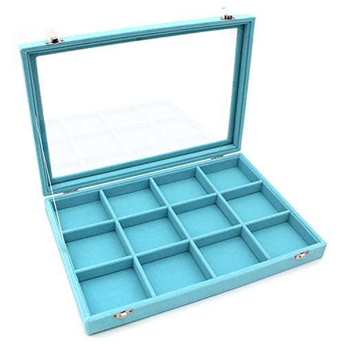 KLOUD City Jewelry Tray Box Showcase Display Storage Rings Earrings Necklaces Bracelet Broochs Organizer Removable Stackable Velvet Clear Lid with Lock Light Blue 12 Grid