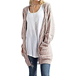 Sherrylily Womens Casual Knit Open Front Long Sleeve Cardigans Packets