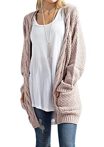 Cardigan Knit Long Sweater (Sherrylily Womens Casual Knit Open Front Long Sleeve Cardigans with Packets)