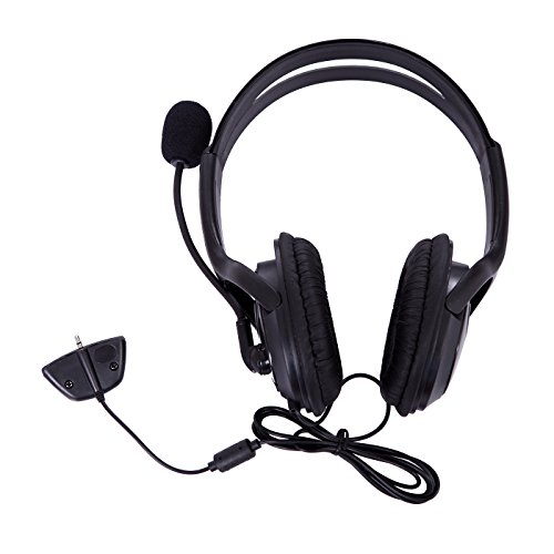 HDE Headset for Xbox 360 Consoles and Live Service Headphones with Microphone for Game Chat Compatible with Wireless (Xbox 360 Live Wireless Headset)