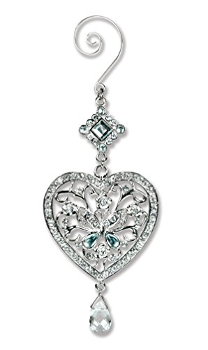 BANBERRY DESIGNS Heart and Butterfly Hanging Ornament - Clear Crystals and Filigree Ornament - Sparkly Silver Christmas Ornament - Silver Christmas Decorations]()