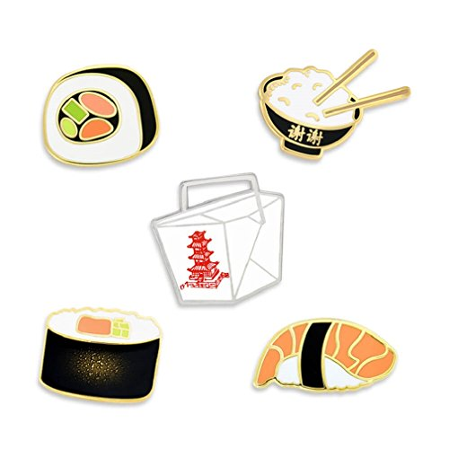 Asian Cuisine Sushi and Chinese Take Out Food Enamel Lapel Pin Set ()