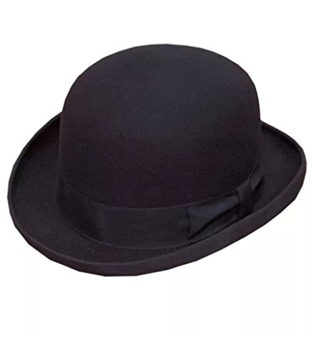 Rimi Hanger Men's 100 Percent Wool Felt Derby Bowler Hat Black One Size Fit (Free Size Fits, Black)