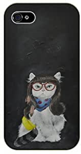 Hipster female cat - iPhone 4 / 4S black plastic case / Animals and Nature