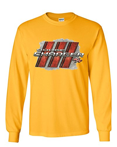 Dodge Charger R/T Long Sleeve T-Shirt American Muscle Car Tee Yellow XL ()