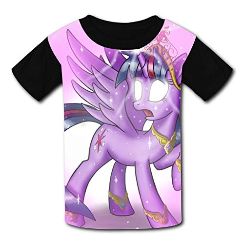 APICELLAjiow My Littl-Pony Children T-Shirts Crew Neck Short Sleeve Raglan Costume Tee Shirt for Girls ()