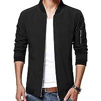 LTIFONE Mens Casual Jacket Zip Up Lightweight Bomber Flight Sportswear Jacket Windbreaker Softshell with Ribbing Edge