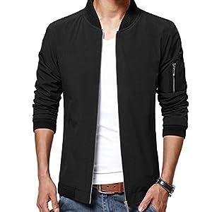 LTIFONE Mens Casual Jacket Zip Up Lightweight Bomber Flight Sportswear Jacket Windbreaker Softshell with Ribbing Edge 24