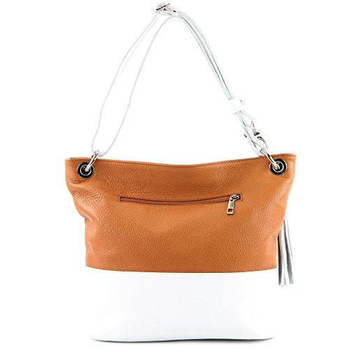 modamoda de - Made in Italy - Bolso al hombro para mujer siehe Beschreibung Camel/Weiß