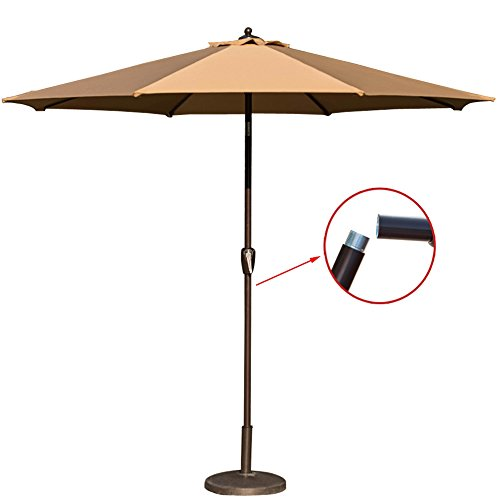 TOUCAN OUTDOOR 9 Ft Patio Umbrella Market Table Aluminum Umbrella with Tilt and Handy Crank, 8 Ribs, UV Resistant Protect Cover (Beige) Review
