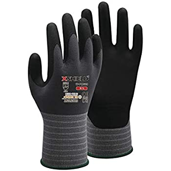 XSHIELD 17-PMG,Ultimate-Nylon, Micro-Foam Nitrile Grip Safety Work Gloves for General Purpose, OKEO-Tex Certificated,Ideal for Auto Repair, DIY,Home Improvement,12 Pairs(X-Large)