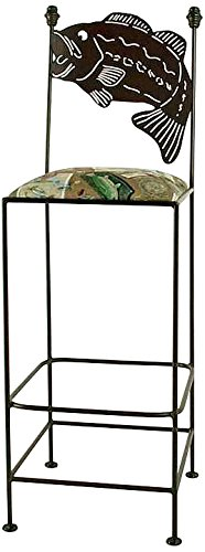 Grace Collection Iron Bar Stools (Grace Collection Bass bar Stool in Aged Iron Finish, Cabin)