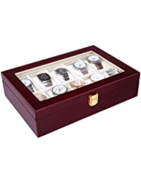 10 Slots Watch Box Cherry Watch Display Case Storage Organizer Large Glass Top UJOW10C
