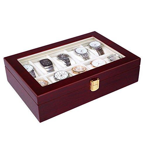 Watch Display Case - SONGMICS 10 Slots Watch Box Cherry Watch Display Case Storage Organizer Large Glass Top UJOW10C
