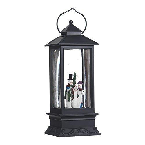 Lighted Snow Globe Lantern: 11 Inch, Black Holiday Water Lantern by RAZ Imports (Snowman Family) (Globe Lanterns)