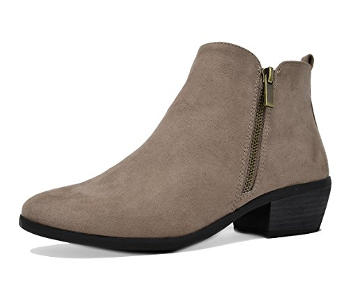 Womens Chunky Heel Boots Cowboy Zip Up Ankle Boots