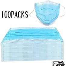 100 Count 3 Ply Disposable Filter Mask Blue Earloop Great for People with The Flu Nose