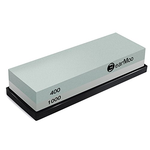 BearMoo Sharpening Stone, 2-IN-1 Whetstone, 400/1000 Grit Knife Sharpening...