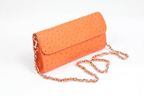 Karoo Collection Tokai Tangerine Orange 100% Authentic Free Range Ostrich Leather Handbag Made in South Africa by Karoo Collection