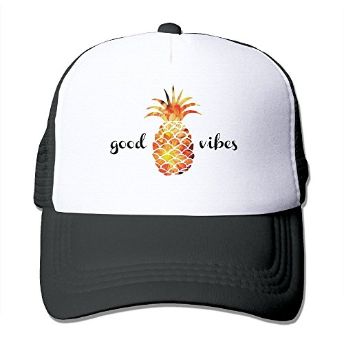 Waldeal Adult The Pineapple Good Vibes Adjustable Mesh Hat Trucker Baseball Caps Black