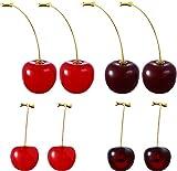 4 Pairs Cherry Drop Earrings Cherry Dangle Jewelry Fruit Dangle Earrings for Women Friends