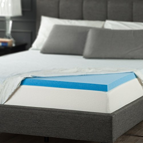 Zinus 2 Inch Gel Memory Foam Mattress Topper, Queen (Spa Sensations Mattress Topper)