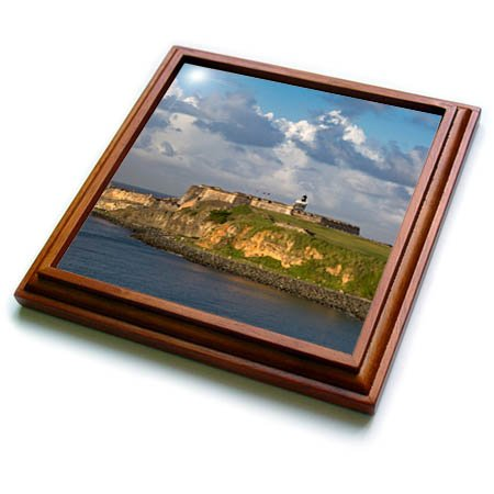 3dRose trv_277164_1 Sunset Over Fortress El Morro, Old Town, San Juan, Puerto Rico Trivet with Tile, 8 by 8''