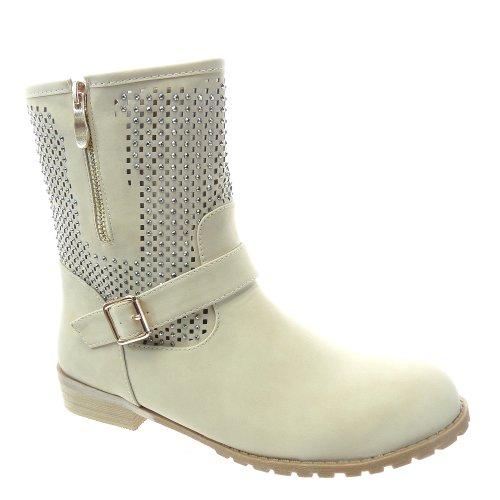 Kickly - Chaussure Mode Bottine Botte Cavalier - Motard montante femmes résille - strass diamant Talon bloc 3 CM - Intérieur synthétique - Beige/Or