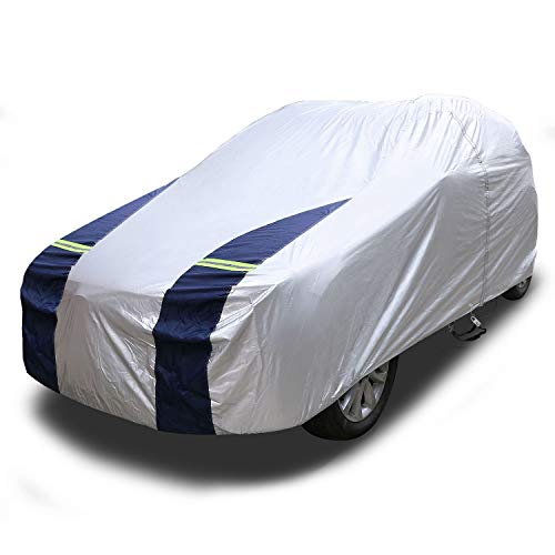 (KAKIT SUV Cover Snowproof Waterproof All Weather, Polyester Sun UV Protection Windproof Universal Outdoor Car Cover for SUV with Driver Door Zipper Fits up to 204'')