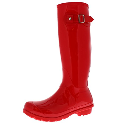 Polar Products Womens Snow Tall Waterproof Rain Muck Dog Walking Buckle Wellington Boot Rood Glanzend