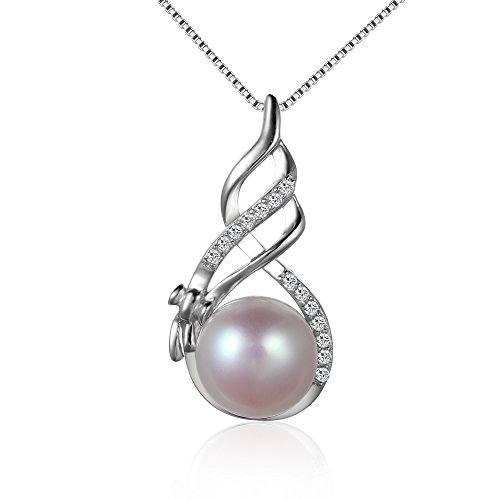 HSG Female Korean Style Genuine 925 Sterling Silver Necklace with Natural Pearl pendant - Crystal Natural Pearl Necklace