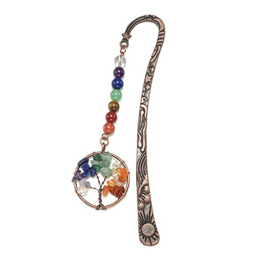(CrystalTears Metal Bookmark-7 Chakra Tree of Life Charms Pendant w/Vintage Bronze Star Sun Moon Rune Bookmark)